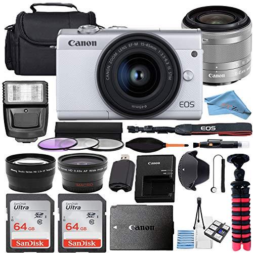 Canon EOS M200 Mirrorless Digital Camera 24.1MP Sensor w/EF-M 15-45mm f/3.5-6.3 is STM Lens + 2 Pcs SanDisk 64GB Memory Card + Bag + Flash + Tripod + Accessory Bundle (White, Silver) (64GB)