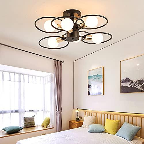Luz Redonda de Techo, lámpara de Techo de Estilo Retro, lámpara de Hierro Forjado Retro Duradero Negro, E27, Usado en Sala de Estar y Dormitorio (Size : 6 Lights)