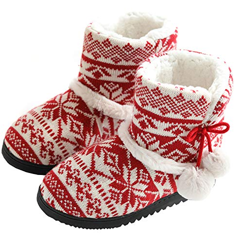 TQGOLD® Chausson Montant Femmes Hiver Pantoufles Intérieur Chaud Peluche Doublure Bottes Maison Slippers Rouge Taille 37 38