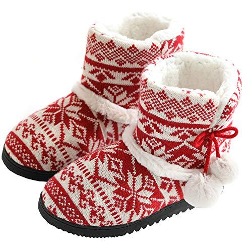 tqgold Zapatillas de Estar por Casa Mujer Bota Pantuflas Cerradas Invierno Interior Antideslizante Suaves Peluche Bootie Rojo Talla 37 38