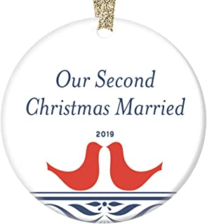 Our 2nd Christmas Married 2019 Ornament Mr & Mrs Holiday Anniversary Together Gifts Two Years Happy Couple Marriage Clean Folk Art Keepsake Newlyweds Present 3