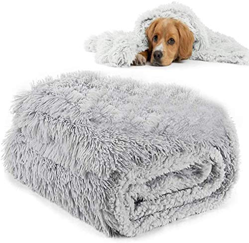 NIDAYE Flauschige Haustierbett-Decke, Hundematte, Kuscheldecke, Schlafsack, bequem, gemütlich, weich, warm, waschbar, Haustier, Welpen, Bett, Überwurf für Hunde und Katzen, Größe M: 78 x 54 cm, Grau