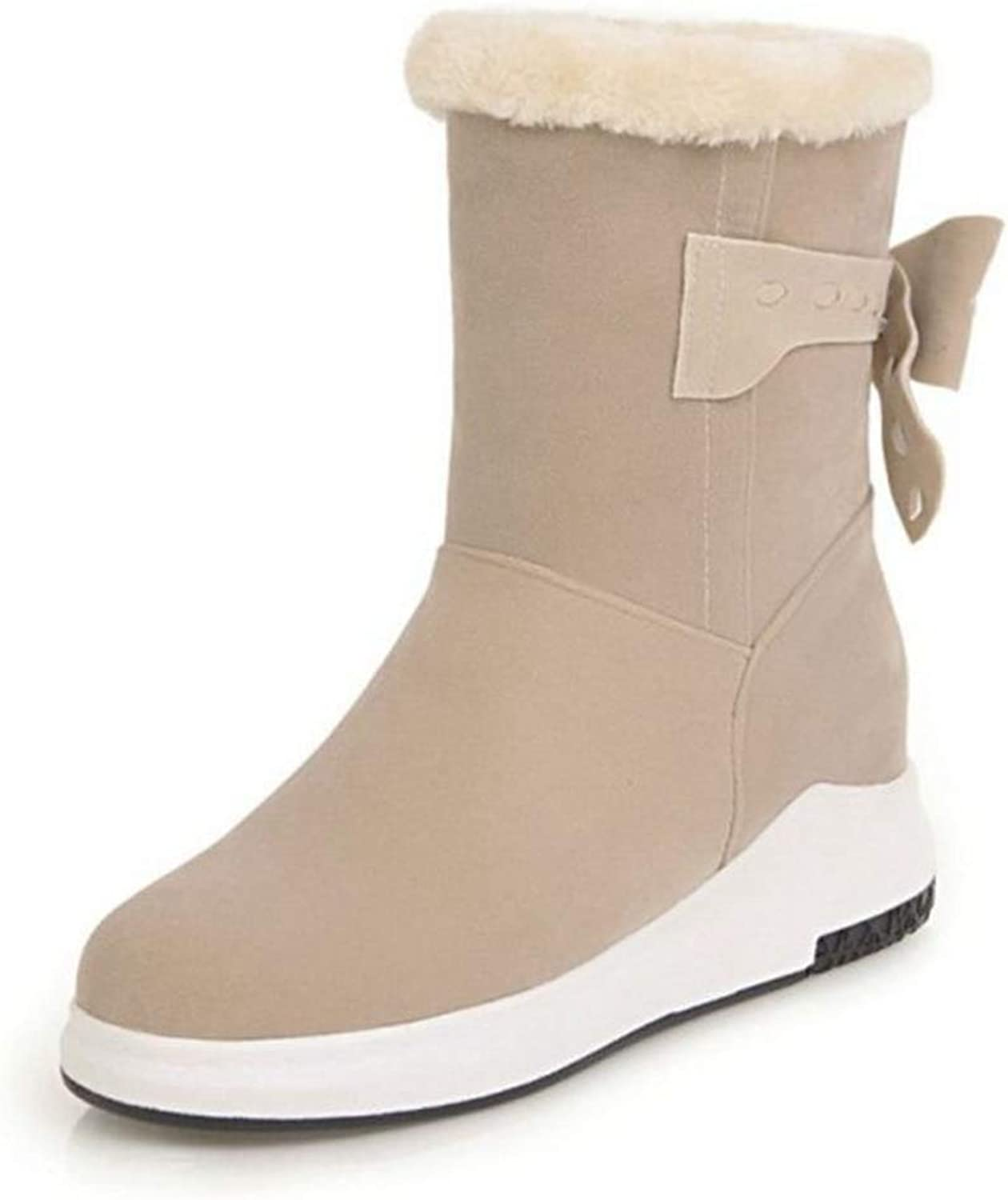 T-JULY Women's Flats Boots Bowtie Round Toe Plush Fur Ankle High Boots Fashion Warm Winter shoes Footwear