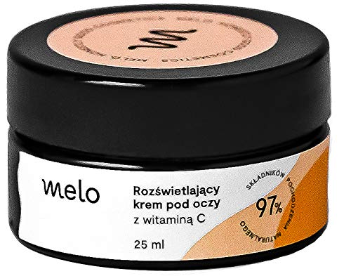 Melo crema para el contorno de ojos antiarrugas y antiojeras, crema vegana con vitamina C y E, manteca de karité, aloe, hidratante, elimina ojeras, cosméticos orgánicos naturales 25 ml