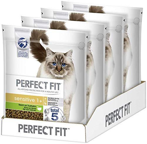 Perfect Fit Sensitive 1+ – Trockenfutter für erwachsene, sensible Katzen ab 1 Jahr – Reich an Truthahn – Ohne Weizen und Soja – Unterstützt die Verdauung – 4 x 1.4 kg