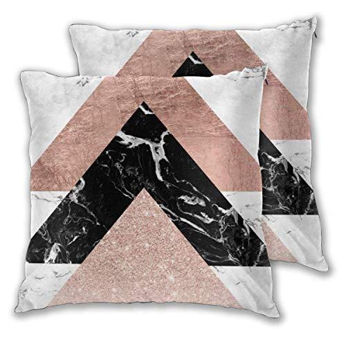 Funda de almohada Oro rosa Negro Blanco Mármol Triángulos Funda de cojín cuadrada geométrica Funda de almohada estándar Decorativo para el hogar para sofá Sillón Dormitorio Sala de estar 18x18in