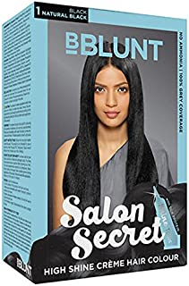 BBLUNT Salon Secret High Shine CreMe Hair Colour (Natural Black: 1) 100 Gm With Ayur Product In Combo
