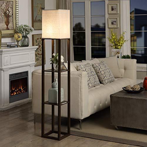 Shelf Floor Lamp with USB Charging Port - Tall & Narrow Tower Nightstand for Living Room & Bedroom - Modern, Asian Modern Floor Lamp, Corner Storage Standing Bookshelf Lamp -Brown
