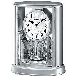 CAO-Decor Silver Mantel Table Clock, Crystals Tone Mantle Clocks with Rotating Pendulum, Mechanical Quartz Silent Desk Shelf Ornaments Clock, Stylish Rhythm Matle Clock, 19.6X24.0Cm