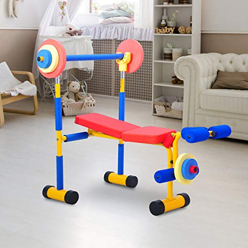 Kinbor Fun and Fitness Exercise Equipment for Kids 2-5, Adjustable Weight Bench Set, Birthday Gifts