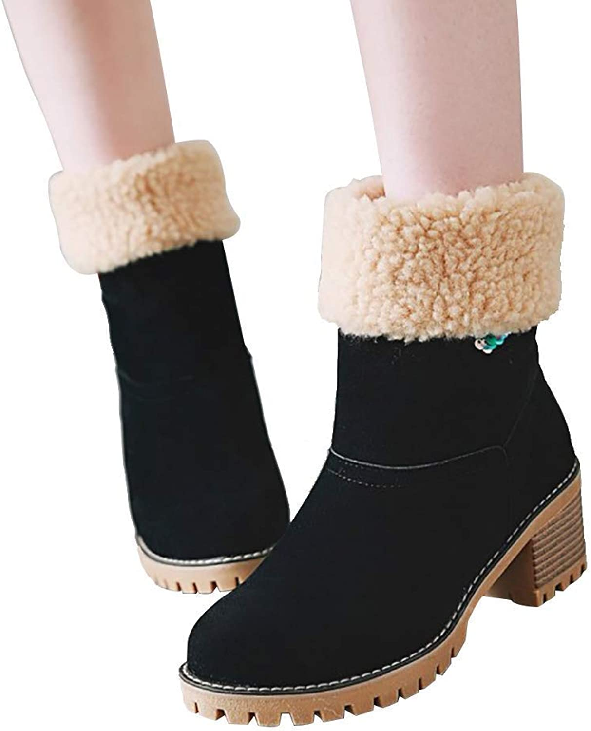 Womens Snow Boots Suede Chunky Mid Heel Round Toe Winter Warm Fur Side Zipper Cute Mid Calf Boots