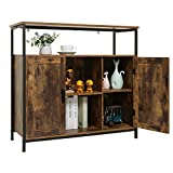 USIKEY Industrial Floor Storage Cabinet with 2 Doors, Kitchen Free Standing Cabinet with Adjustable Shelves, Feet, Storage Sideboard, Accent Cabinet, for Living Room Entry Bedroom, Rustic Brown