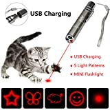 RIO Direct Rechargeable Chase Cat Toy, Multi Pattern Funny & Mini Flashlight Interactive LED Light Entertain and Train Your Cat Kitten Dog Pet - USB Charging