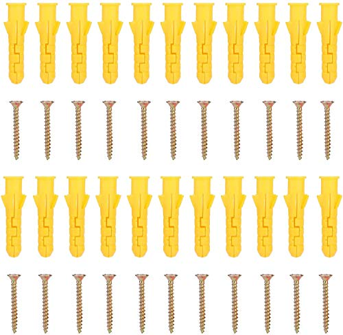 100 Sets Befestigungsschrauben für Mauerwerk, Ziegel, Wandbefestigung, Schrauben mit Dübeln, selbstschneidende Schrauben, Befestigungssets für Haussteckdosen, Fotorahmen, Kabelkanal