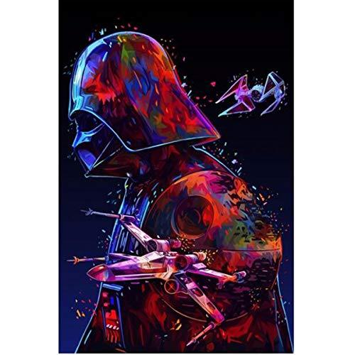 Leezeshaw 5D DIY Diamant Malen nach Zahlen Kits Fameless Strass Stickerei Gemälde Bilder für Home Decor – Darth Vader 40x50cm Darth Vader-2
