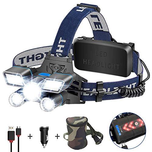 Linterna Frontal LED, ERAY Linterna Cabeza Recargable de Alta Potencia 21 LEDs/...