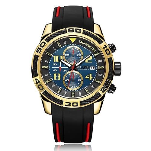 Hombres Top marca de lujo cronógrafo ejército militar cuarzo reloj, azul,
