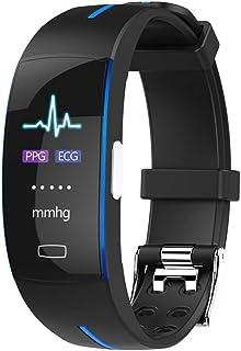 Rastreador de ejercicios, pantalla a color ECG + PPG + Presión arterial + Monitor de ritmo cardíaco e Informe de monitoreo de ecg AI, adultos mayores Brazalete inteligente a prueba de agua,Blue