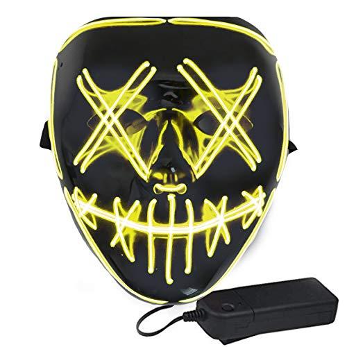Light Up Masks Beleuchtete LED-Maske mit lächelnder Stickerei für Halloween, Rave, Festivals, Cosplay, 8 Farben - Gelb - Eine Größe passt meistens