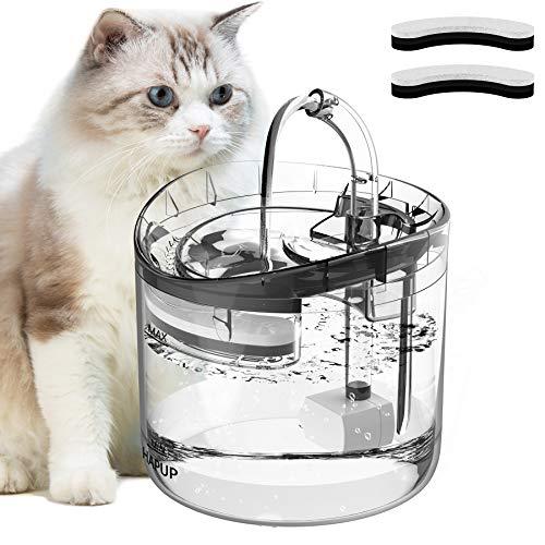 HAPUP猫 みずのみ 自動給水器 猫 水飲み器 ペット給水器 循環式の完全に透明な猫の飲用噴水 1.8L大容量 2枚活性炭フィルター 1個USB超静音水中ポンプ ネコ パピー用