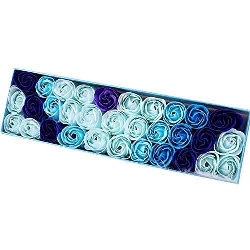 SNOWINSPRING 33 StüCke/Box Simulation Rose Seife mit Geschenk Box Frauen M?Dchen Bad Gesichts Seife Valentinstag Geburtstag Hochzeit Geschenke Blau