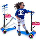 Hurtle 3 Wheeled Scooter for Kids - Stand & Cruise Child/Toddlers Toy Folding Kick Scooters w/Adjustable Height, Anti-Slip Deck, Flashing Wheel Lights, for Boys/Girls 2-12 Year Old HUFS88B (Blue)