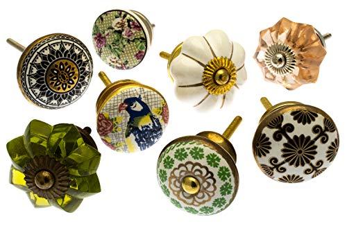 Möbelknopf Set x 8, Möbelknauf, Möbelknöpfe, Möbelgriff, Vintage Keramik Porzellan Set...