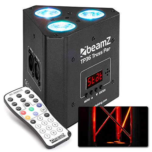Beamz TP 36 Truss Par Uplight Scheinwerfer, 3x 4W 4in1 LEDs, RGB-UV Lichtmischung, 3, 4-1, 4 oder 8 DMX-Kanäle, DMX- und Standalone-Modus, Dimmer 0-100{bb6ada424cf7ce8ffc45817ee1826cba0ab4b33b5fbc0476280eedceab82f84b}, Master-/Slave-Funktion, LED-Anzeige