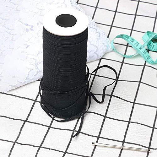 Joody Bobina elastica piatta, 3 mm, in tessuto con nastri, estensibile, colore: Nero / Bianco, Nero , 144 Yards