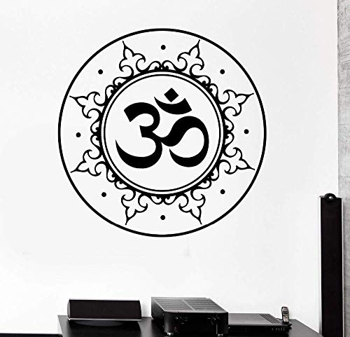 Home Decals Buddha Lotus Aufkleber Abnehmbare Yoga Mandala Om Meditation Chakra Vinyl Wandtattoo Wandbild Raum Dekor-56X56Cm