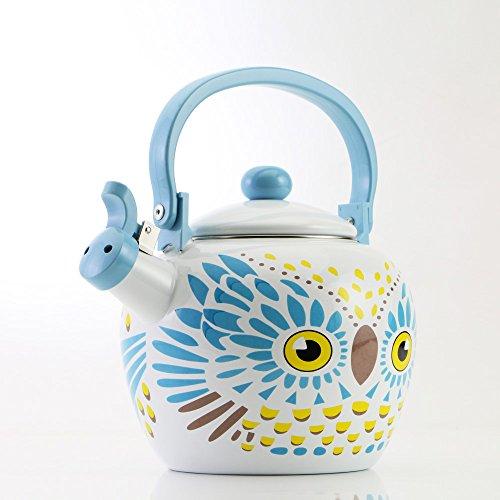 Emaille Fluitende Theepot Theeketel Teakettle Kookplaat Gas Inductie Hob, 2.0 Liter - Gourmet Art Owl Design
