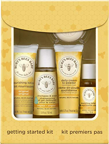 Burt's Bees Baby Getting Started Gift Set, 5 Trial Size Baby Skin Care Products, Lotion, Shampoo & Wash, Daily Cream-to-Powder, Baby Oil and Soap, Yellow, 1 Count