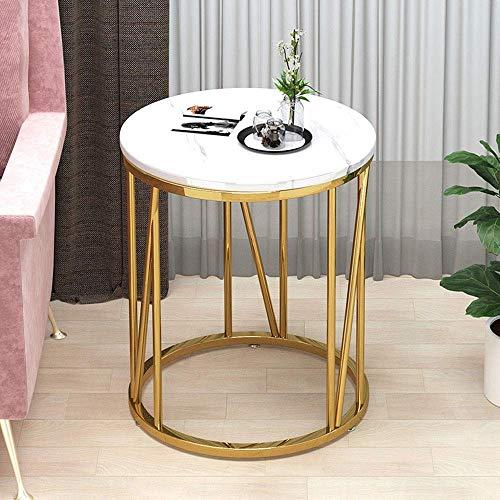 JXJ Runder Mini-Couchtisch mit modernem Design, Beistelltisch im Wohnzimmer, Nachttisch mit Marmorplatte, geeignet für Wohnzimmerbalkon im Schlafzimmer, 50 x 50 x 56 cm