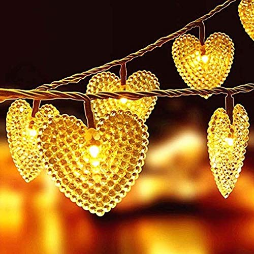 Solar Outdoor Lights Garden String Lights 20ft 30LED Solar Powered Heart Shaped Fairy String Lights Garden Lights for Wedding Party Patio Home Christmas Tree Decorations