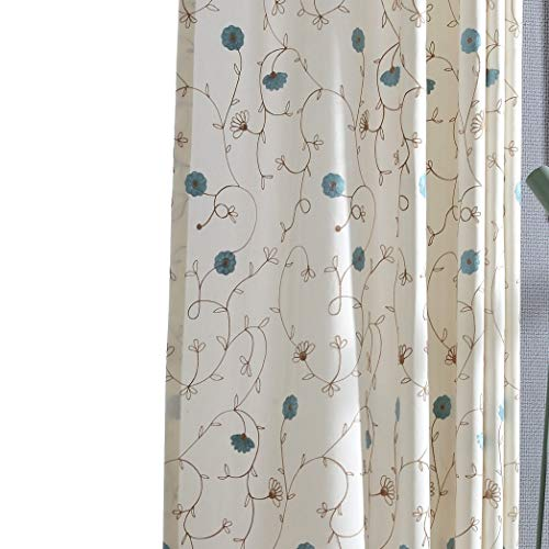 VOGOL Floral Embroidered Elegant Curtains Simple Style Grommmet Window Panels for Bedroom Living Room,Two Panels, 52x63, Blue