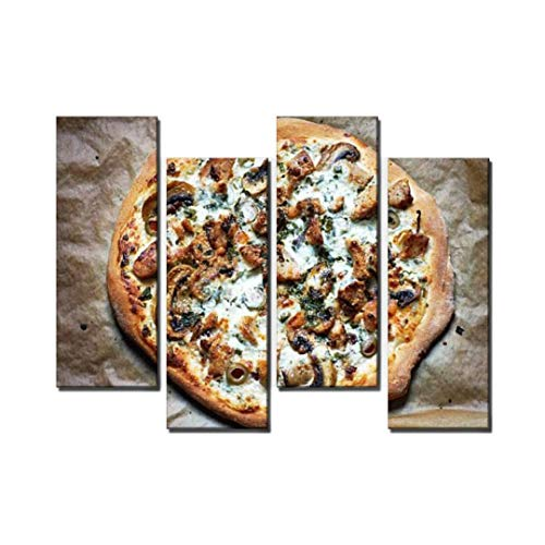 Wocatton White Pizza Wall Art Background Decor Pictures Print On Canvas Art Stretched and Framed Perfect Home Decoration