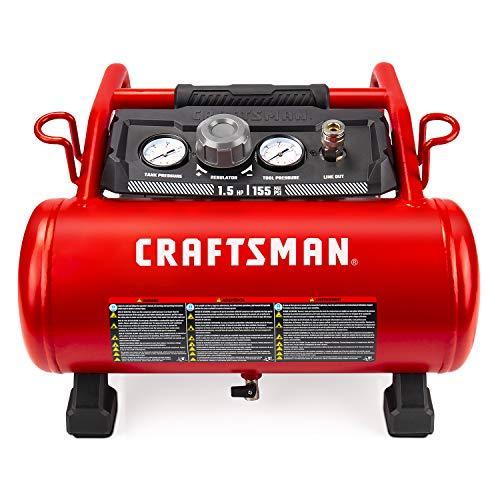 Craftsman Air Compressor, 3 Gallon 1.5 HP Max 155 Psi Pressure Oil-Free Portable, Red- CMXECXA0200341