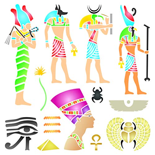 Plantilla egipcia, 16,5 x 16,5 cm (S) – Classic Egipto Symbol Hyroglyphics Stencils