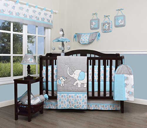 GEENNY Boutique Baby 13 Piece Nursery Crib Bedding Set, Blizzard Blue Grey Elephant