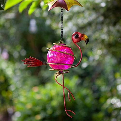 garden mile Hanging Bouncing Garden Ornament Suncatcher Glass Crackle Globe Outdoor Indoor Tree Decoration Waterproof Hand Painted Swinging Yard Decor Sun Catcher Flamingo (Flamingo)