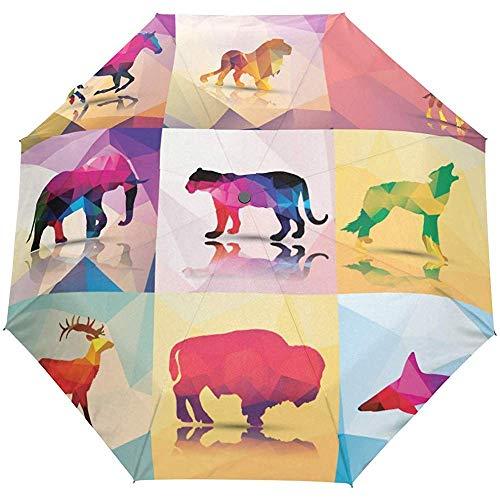 Moderne Tier Pferd Tiger hirschhai Auto offenen Regenschirm Sonne Regen Regenschirm Anti uv Falten kompakte automatische Regenschirm