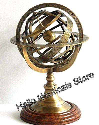 Nautical.Gift.Decor Kugeluhr aus Messing mit Kugel, Astrolabe, Vintage-Stil, Kompass, Messingkugel, Armillarar-Stil, einzigartige Tischdekoration