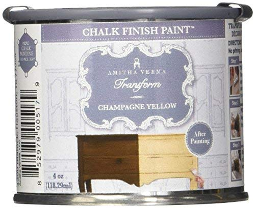 Amitha Verma Chalk Finish Paint, No Prep, One Coat, Fast Drying | DIY Makeover for Cabinets, Furniture & More, 4 Ounce, (Champagne Yellow)