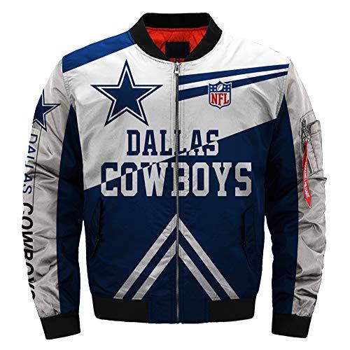 NFL Football Jacket Rugby Jacket Mens Outdoor Sports Lightweight Jackets Coat (Dallas Cowboys, L)