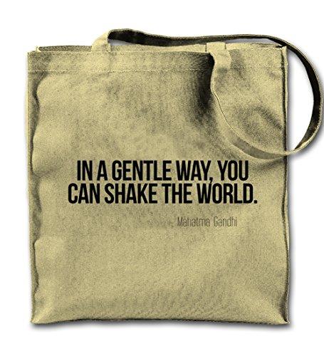 In A Gentle Way You Can Shake The World Gandhi Zitat Natürliche Leinwand Tote Tragetasche, Tuch Einkaufen Umhängetasche