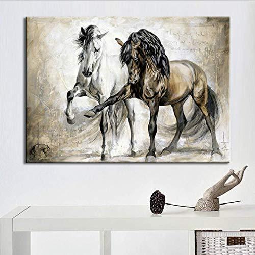 Caballo Vintage Óleo Cuadro Impresion en Lienzo Modernos Pintura Decorativo para Salon Dormitorios Habitacion Casa Decor Blanco y Marrón,40X60cm