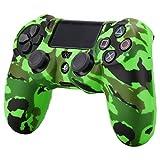 Pandaren® Wassertransfer Anpassen Camouflage Silikon Hülle Anti-Rutsch für PS4 controller x 1 (Grün) + thumb grips aufsätze x 2