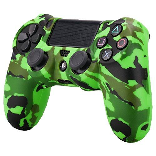 Pandaren siliconi copertura pelle caso cover case skin antiscivolo Trasferimento dell'acqua Personalizza camuffamento per Controller PS4 x 1 (verde) + Le impugnature x 2