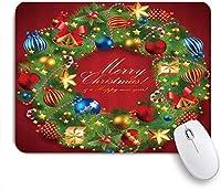 NIESIKKLAマウスパッド クリスマスリースボールスターベルキャンディーと松の葉新年あけましておめでとうございます ゲーミング オフィス最適 高級感 おしゃれ 防水 耐久性が良い 滑り止めゴム底 ゲーミングなど適用 用ノートブックコンピュータマウスマット