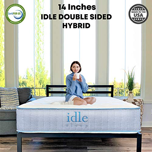 Idle Sleep 14 Inch Queen Double Sided Hybrid Mattress in a Box - Sleep Cool with Thermocool Fabric - Motion Isolating Springs - Medium Firm - Made in USA - CertiPUR-US Certified